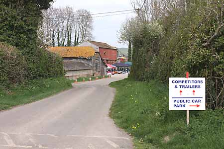 The entrance to the paddock for competitors is straight ahead on arrival at Gurston Farm